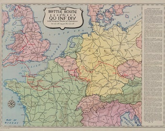 90th Infantry Division Campaign Map - The Tough Ombres - US Army