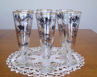 1950s Beautiful Vintage Libbey Barware Set of 6 CURIO HOSTESS Set PILSNER Glasses Horseless Carriage McM Kitchen / Bar