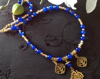 Blue necklace charm necklace handmade beaded necklace beaded necklace