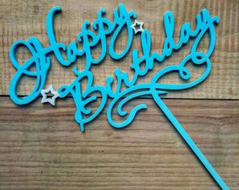 Cake Topper, Happy Birthday, Birthday Decor, Boys Topper, Blue, Cupcake