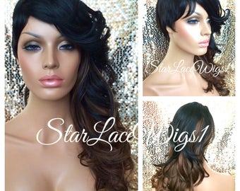 Long Curly Shaved Side Wig - Off Black, Auburn - Short Side - Heat Resistant Safe