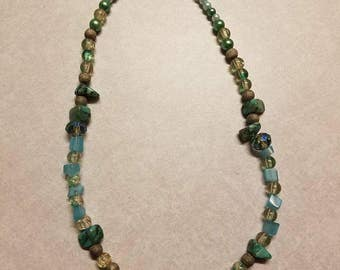 Teal and Bling Necklace