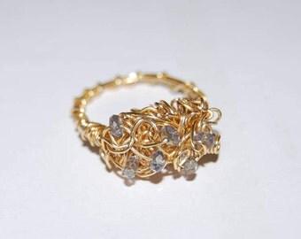 Ring Swarovski crystals. Swarovski crystals. Gold gold ring. Golden ring. Crystal ring