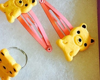 Cookie Bear Ring & Hair Clips