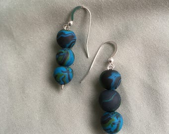 Sterling Silver and Hand-Rolled Polymer Clay Dangle Earrings
