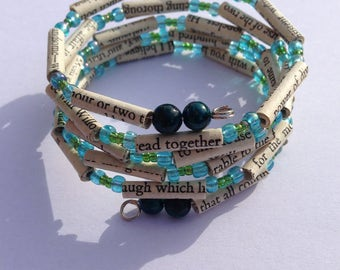 Blue and Green Sense and Sensibility Book Bead Bracelet