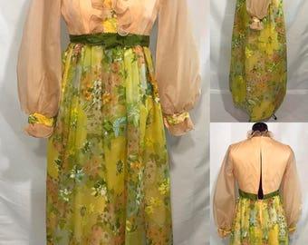 """1970's   """"Bridesmaid"""" Dress   floor length"""