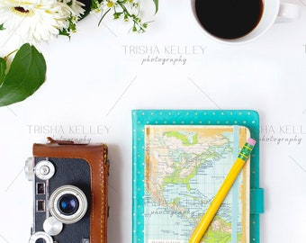 Map Notebook with Pencil and Camera