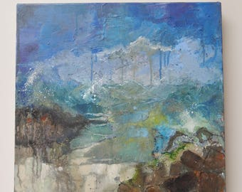 Original acrylic painting of a seascape 'Calmer now'