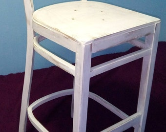 Bar wooden stool after restoration. Stool vintage. Chairs & Ottomans
