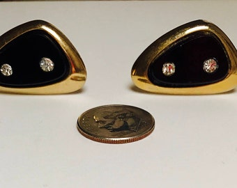 VTG Vintage Gold Colored Cufflinks with Two Diamantes