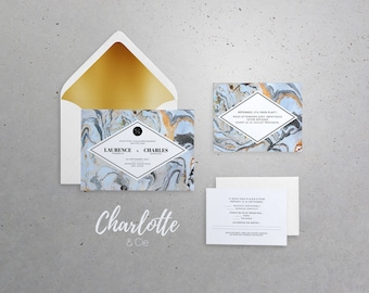 Wedding Invitation, Announcement 5x7 in with envelope A7 - Chic, marble, blue, gold, modern, winter, mineral