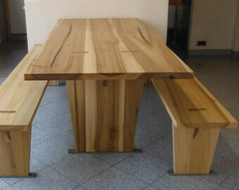 Tree table seating Tulipwood dining table with 2 benches