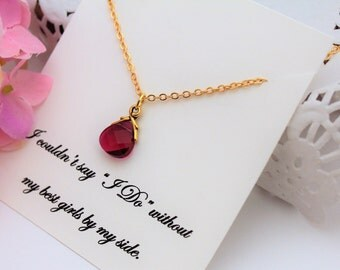 BRIDESMAID Proposal CRYSTAL NECKLACE Will you be My Bridesmaid Gift Ruby Crystal Necklace Pink Necklace Mother of Groom Bride Gift for Mom