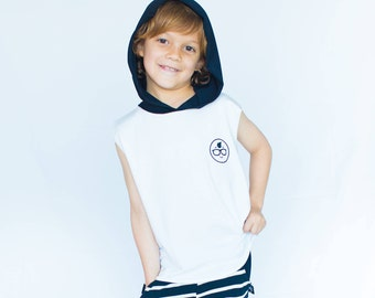 TANK TOP with hoodie,tank,t-shirts for boys,toddler clothes,back and white,boys clothes