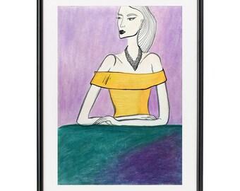 Fashion illustration. Woman. Girl. Art. Yellow dress.