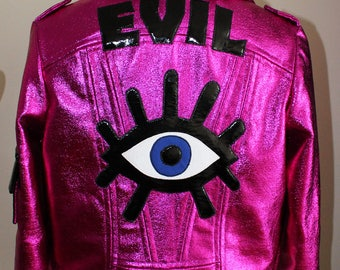 "One of a Kind ""EVIL EYE"" Moto Jacket 100% handmade"