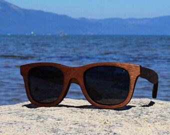 Walnut Sunglasses Wooden, Wayfarer Shape Wooden Eyewear, Polarized Wood Sunglasses Man Woman | Handmade