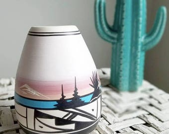 Etched Hand Painted Native American Vase