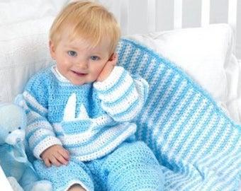 Baby Striped Blanket,easy crochet patterns.