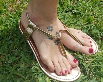 Rose gold sandals