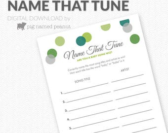 Name That Baby Tune Game, Baby Song Game, Green Polka Dots, Unisex Baby Shower Activity, Polka Dot Baby Shower Games – Instant Download