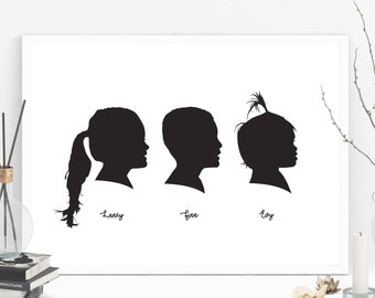 3 Custom Silhouette from your photo, Profile Silhouette, Silhouette Art, Nursery Silhouette Portrait, Birthday Gift, Father's Day Gift