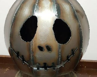 Jack O Lampern Handmade Sheetmetal Pumpkin Lamp Halloween