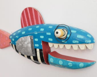 "Brilliant Blue Wooden Fish ""Celia"""