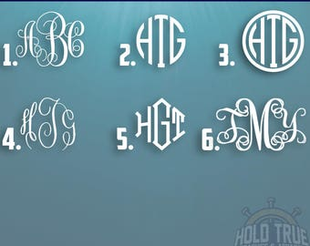 Monogram Decal - Monogram Sticker - Monogram Decals - Monogram Laptop Decal - Car Decal - Custom Yeti Decal - Monogram Car Decal - Monogram