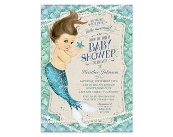 Mermaid Baby Shower Invitation - Vintage Baby Shower - Printable Digital File