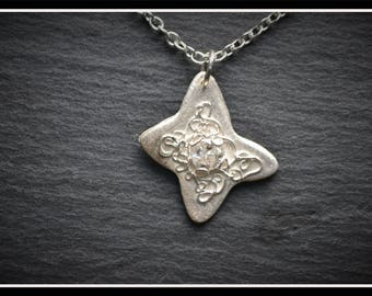 Butterfly Detail CZ Pendant, Silver Precious Metal Clay (PMC), Handmade, Necklace - (Product Code - ACM004-17)