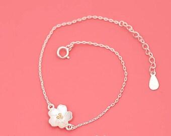 Silver Sakura Bracelet