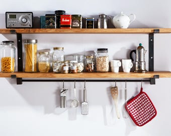 Large kitchen shelf from solid oak and raw steel with two layers