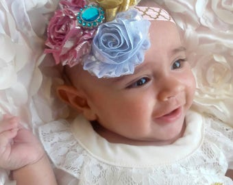 Vintage Baby Girl Headband / Pick Size and Material