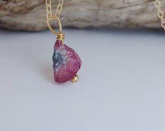Pink Tourmaline Necklace Watermelon Tourmaline Necklace Raw Tourmaline Jewelry Rough Tourmaline Blue Tourmaline Necklace Paraiba Tourmaline