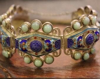 Antique Chinese Export Silver Filigree Enamel Jade Bracelet