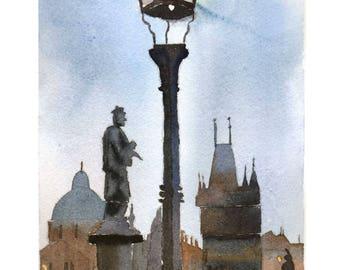 ORIGINAL Watercolor Painting Prague, Charles Bridge cityscape , Charles Bridge in Prague, gift idea
