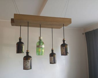 Rustic Chandelier with Gin Bottle Lights