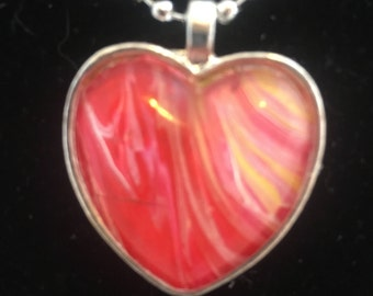 """One of a kind red, yellow and white heart shaped abstract art silver-toned pendant on a 24"""" ball chain"""