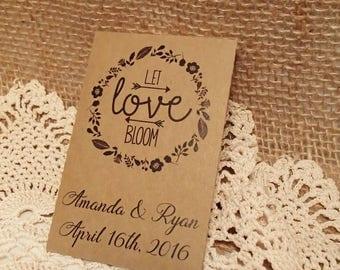PRINTABLE, Seed Packet, Custom, Wedding Favour, Let Love Bloom, Personalized, Favor, Envelope, DIY, Flowers, Seeds, PDF, template, Envelope