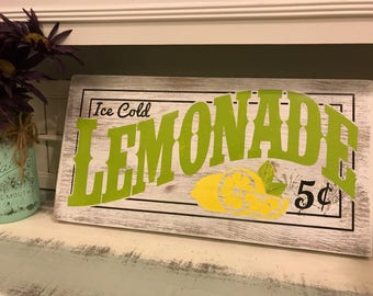 Vintage farmhouse whitewashed hand-painted Lemonade wooden sign