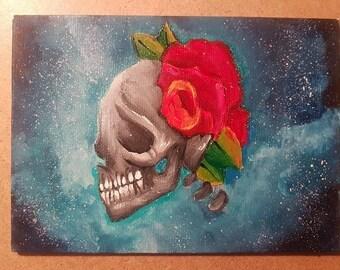 Galaxy Skull Acrylic & Watercolour Painting