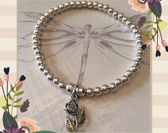 Sterling Silver Rose stacker bracelet