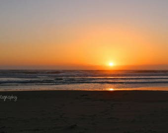 Beach Sunset Photo, Pacific Northwest, Lincoln City, Oregon, Coastline, West Coast, Wall Art