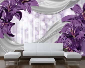 Photo wallpaper Lily purple abstract wallpaper XXL fleece wallpaper mural