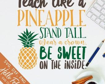 Pineapple Svg, Teacher Svg, School Svg, Tall Crown Sweet Svg, Dxf, Jpg, Svg files for Cricut, Svg files for Silhouette, Vector Art, Clip Art