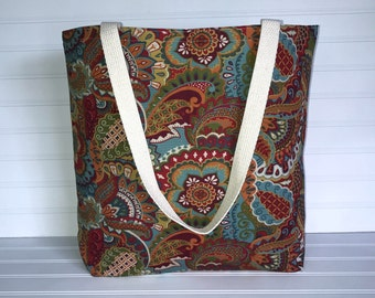 Handmade Everyday Tote | Market Bag |  Fall Multicolored Paisley Tote