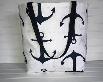 Handmade Everyday Tote | Beach Bag | Navy & White Anchor Tote
