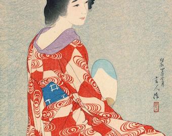 "Japanese Art Print ""Long Undergarment"" by Kotondo Torii, woodblock print reproduction, fine art, asian art, cultural art, traditional"